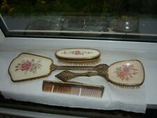 Vintage Regent of London Style Embroidered Dressing Table Set ~ 3 Pieces