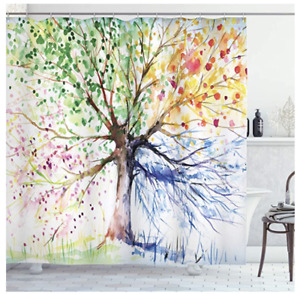 """Ambesonne Tree Shower Curtain, Watercolor Style Tree 75"""" Long, White Green"""