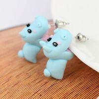 Women Hippo Handmade Polymer Clay Cute Blue Earrings Animal Ear Stud Jewelry