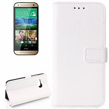 CUSTODIA COVER WALLET ECO PELLE BIANCO per HTC ONE MINI 2 M8  + PELLICOLA