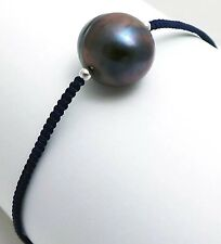 13mm Dyed Black Freshwater Pearl Navy Macrame Bracelet Silver Plated Brass Beads