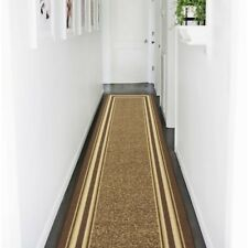 Runner Area Rug 2 x 7 ft Bordered Brown Non-Slip Pad Spot Clean Stain Resistant