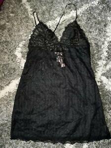 Victoria secret floral striped mesh slip new size L black