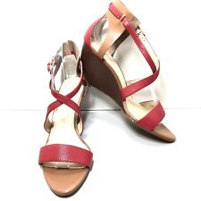 Women's Enzo Angiolini Red Leather Cross Strap Peep Toe Pumps Wedges Size 9 M