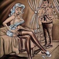 Penthouse Playboy Cartoon Just married sex Vintage Velvet Oil Painting J434h