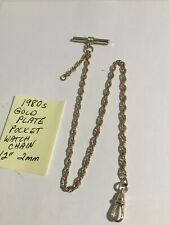 "1980s Gold Plate Pocket Watch Chain 12"" 2mm"