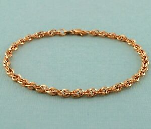 9ct Rose Gold Diamond Cut Prince Of Wales Bracelet 19cm / 7.5 inch