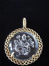 Vtg 60's Crown TRIFARI Zodiac AQUARIUS PENDANT Intaglio Horoscope A139
