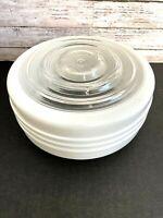 "Vtg Art Deco Circles Ribbed Glass Light Globe Shade Ceiling Fixture 5 3/4"" Fitte"