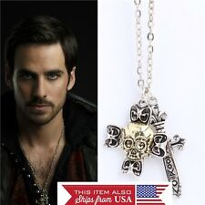 Once Upon A Time Captain Hook Necklace Silver Zinc Alloy Sword Skull Cross Bones
