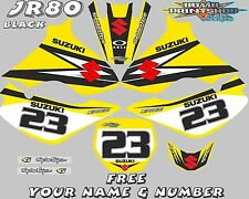 suzuki jr80 decals graphics jr 80 full kit laminated stickers motocross mx black