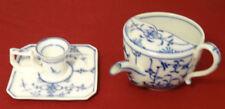 Antique 19c Copenhagen Flow Blue Finger Candle Lamp & Infant Feeder - Signed