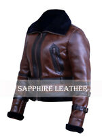 Women B3 Bomber Aviator Sheepskin Real Shearling Brown Leather Winter Jacket