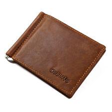 Men's Leather RFID Blocking Card Holder Money Clip Slim Billfold Wallet Brown