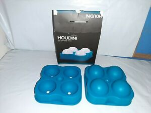 """Houdini By Rabbit Ice Sphere Tray Blue Silicone 4 1.75"""" Ballls"""