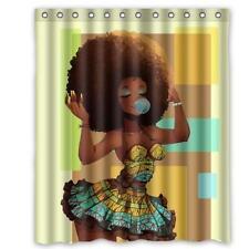 African Woman Bathroom Big Hair Waterproof Bath Shower Curtain Home Decor