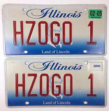 Pair Illinois License Plate Vanity Custom Personalized 2002 - HZOGO 1