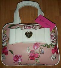 Betsey Johnson Handle Case Pink Floral Cosmetic Makeup Bag  Storage Organizer