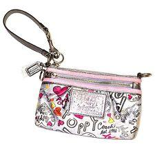 Coach Poppy Graffiti Hearts Gray Silver Hardware Patent Wristlet/Clutch Bag RARE