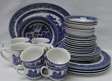 JOHNSON BROTHERS china WILLOW BLUE England 1883 32 Piece Set dinner/cup/bowl/mug