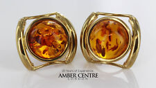 Italian Made Elegant 9ct Gold Baltic Amber Stud Earrings GS0070 RRP£300!!!