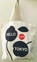 Shiseido Hello Toyko Ivory Black Cotton Canvas Eco Tote Bag Purse Travel Shopper