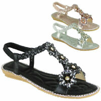 Ladies Flat Elastic Strap Bling Comfy Womens Summer Peeptoe Sandals Shoes Sizes