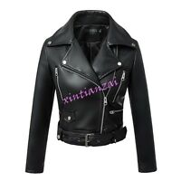Women Soft Ladies faux Leather Short Biker Jacket Black Motor Coat Zip Lapel Hot