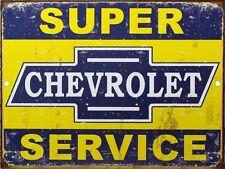 """Chevy Chevrolet Super Service Sales /& Service Vintage Aluminum Sign 9""""x12"""""""