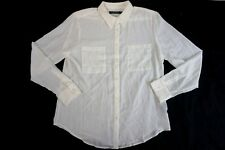 NEW LAUREN RALPH LAUREN Women's Ivory Sheer Button-Down Long Sleeve Blouse L