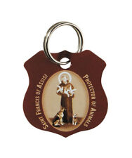 St. Francis of Assisi Brown Pet Collar Medal with a FREE Prayer Card
