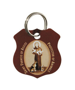 St. Francis of Assisi Brown Pet Collar Medal with two FREE Prayer Cards