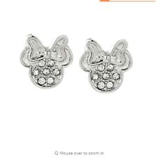 White Crystal Zirconia Silver Plated Minnie Mouse Earrings