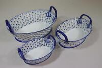 3er Set Zierschale Schale durchbrochenes Porzellan blaues Dekor China (RK500)