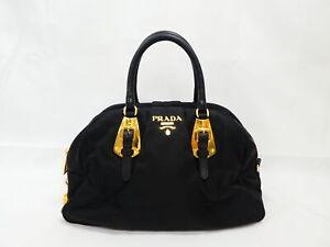 Auth PRADA Logo Handbag Black/Gold Nylon/Leather/Goldtone - AUC0156