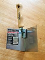 "NEW Inside Corner Drywall Tool - Large 4"" Stainless Steel Wood Handle"