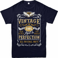 Personalised Made in 1986 Vintage T-Shirt, Born 1986 Birthday Age Year Gift Top