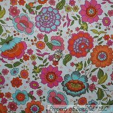 BonEful FABRIC Cotton Quilt White Pink Flower Orange Blue Green Leaf Dot L SCRAP