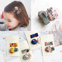 FP- KQ_ EB_ 2Pcs/Set Kids Baby Girls Barrette Flower Print Hairpin Hair Clip Gif