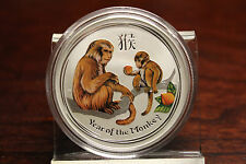 2016 Australia 1 oz Silver Lunar Monkey Colorized BU In original Capsule