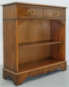 VINTAGE YEW WOOD TWO DRAWERS OPEN DWARF LIBRARY BOOKCASE & SINGLE SHELF