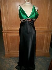 NEW Woman's Aven CELO Green & Black Evening Gown Dress Rhinestones Size 38