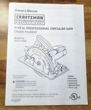Owner's Manual Craftsman Professional Circular Saw & Wiring Diagram #315.271080