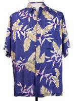 Vintage Reyn Spooner Mens M Blue Floral Hawaiian Camp Aloha Rayon SS Shirt