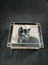Stained Glass Jewelry Trinket Box CAT Hinged Signed And Numbered