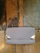 80's 50's vintage retro look grey gold faux leather snake skin chain clutch bag