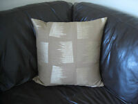Handmade Cushion cover Abstract design in metallic gold on brown / tan