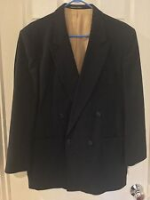 HUNTING HORN SUIT SPORTS JACKET BLAZER 42 R MEN'S BLACK DOUBLE BREASTED LINED