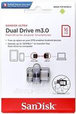 SanDisk 16GB Ultra Dual Drive M3.0 130MB/s micro-USB OTG USB 3.0 Flash Drive 16G