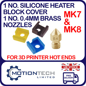 1 x Heater Block Silicone Cover & 1 x 0.4mm Brass Nozzle For MK8